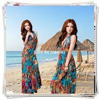 Work Bohemian Mini 2014 new Women Floral Long Dresses Full-Length Bohemian Flower Printing Tube Boho Maxi Dress 2662#008
