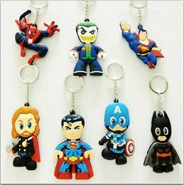 New Popular The Avengers PVC Keychain Iron Man Superman Batman Joker Cartoon Key Chain Baby Shower Gift Keychains Fashion Jewelry Toys