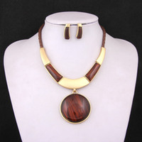 Wholesale 2014 New Fashion Gold Silver Plated Round Pendant Necklace Earrings Set Colours African Costume Jewelry Sets Gifts For Women Bridal Wedding