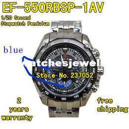 Wholesale-EF-550RBSP-1AV EF-550RBSP-1A EF 550RBSP 550 Sports Chronograph Men's Watch 1 20 Second Stopwatch Pendulum Swing Function Blue
