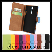 pu arc stand - For sony xperia s arc hd lt26i phone genuine leather wallet stand case cover with colors free shipment