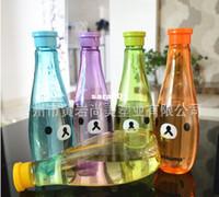Wholesale piece Rilakkuma bowling shape ml transparent leak proof portable unbreakable plastic soda bottles sports sealed bottles