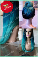 Wholesale ombre turquoise silky straight synthetic lace front wig heat resistant fiber blue green ombre tone wig