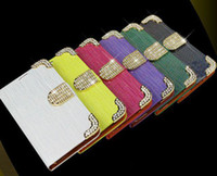 For Apple iPhone Leather White Cell Phone case Luxury Diamond bling Wallet leather pouch For Samsung galaxy i9200 mega 6.3 credit card money pocket skin case cover