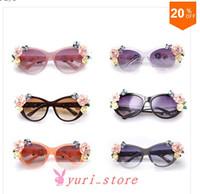 Wholesale New Spring Women Baroque Sunglasses Girls Top Fashion Retro Rose Flowers Cat Eye Glasses Brand Designer Punk Eyeglasses