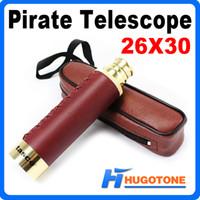 achat en gros de pirates spyglass-Télescope pirate extérieur 25 x 30 télescopique anti-buée nautique réglable monoculaire HD étanche large bande bleu film spyglass