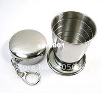 Wholesale Stainless Steel Travel Telescopic Collapsible Cup Shot Glass Emergency Pocket Cup