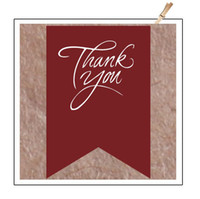 huanyu Acrylic Kraft Paper Red thank you stickers, envelope seals stickers