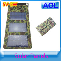Wholesale 5W Portable Folding Solar Panel Moble Charger Solar Charge Kit For Iphone Ipad All Smart Phones And Other Digital Device