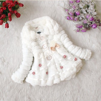 Coat Girl Winter Wholesale - Winter New Children's clothing baby girl's coats thick bowknot fur pearl jackets plush lace jacket