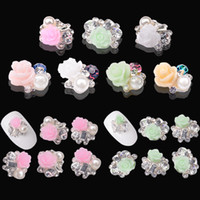 Wholesale Rhinestone Alloy Flowers d Nail Art Decorations Designs Metal Glitter DIY Beauty Nail Supplies Accessories Jewelry