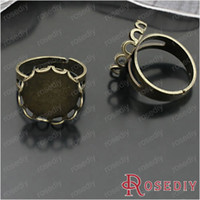 Couple Rings J-M4262 Metal Free Shipping Wholesale ID 19mm Antique Bronze Round Copper Adjustable Ring Settings Diy Jewelry Findings 10 pieces(J-M4262)
