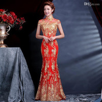 Wholesale 2014 Hot Sale Luxury and Elegant Women Lace Silk Slim Chinese Long Cheongsam Dress Improved Red Short Sleeve Bridal Dresses chinese dresses