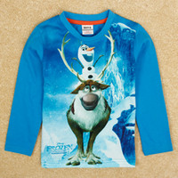 Wholesale Autumn winter baby boy long sleeve t shirt nova cartoon FROZEN animal snowman Olaf reindeer Sven D printing T shirts kids wear A5028Y
