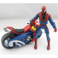 Wholesale Marvel Spiderman Spider man with Motorcycle PVC Action Figure Collection Model Toy