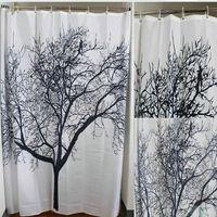 Wholesale EW Big Black Scenery Tree Design Bathroom Waterproof Fabric Bath Shower Curtain