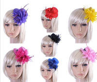 Wholesale lady Fascinator party cocktail dress up with hair clip mini top hat flower design cm diameter