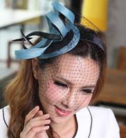 Barrettes & Clips Women's Party Fashion Women's Derby Wedding Dress 100% sinamy Hats Blue Silk Ribbon Black Screen Accessories Hairwear Hair Fascinator Clips