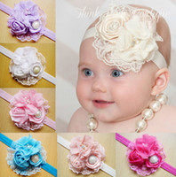 Wholesale 8 Color For Choose Vintage Lace Roses Pearl Diamond Flowers Infant Children Hair Accessories Baby Girls Kids Adorable Bands Headbands C2490