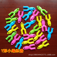 Wholesale Mini quot Y quot crochet Knitting frame Rainbow Loom kit late Rubber band loom Bands bracelet amazing gift for children handmade