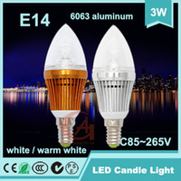 Wholesale 2 Years Guarantee W LED Energy Saving Candle Light Lamp Bulb E14 Silvery Gold AC85 V Sharp sterm White Warm White NL3