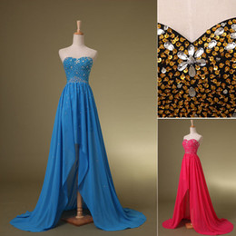 Wholesale Cheap In stock A Line Hi Lo Chiffon Beads Cocktail dresses With Sweetheart Backless Prom Evening Graduation Dress Under SD080