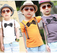 Boy Summer Standard wholesale new 2014 5pcs lot boys short-sleeve bow tie print T-shirts fake suspender orange white gray tshirts H1025