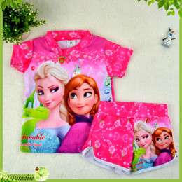 Wholesale 2014 Girl Swim Wear Frozen Elsa Anna Princess Print Two Piece Child Swimsuit Girls Rash Guard Bathsuit Frozen Surf Clothing Kids Swimwear