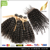 Malaysian Hair Curly malysian virgin hair Hair Closure With Bundle Hair Kinky Curly Hair Extensions Virgin Malaysian Hair Top Closures(4x4) Natural Color Bellahair Hair Wefts&Weaves