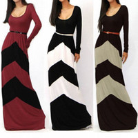 Wholesale Details about SUMMER CHEVRON COLOR BLOCKED LONG SLEEVE EMPIRE WAISTED JERSEY MAXI DRESS S M L