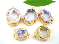 Wholesale 5pcs Nature Agate Geode Drusy Gem Stone Connector Druzy Pendant with Gold Edge Jewelry Findings mm mm RANDOM IN SHAPE