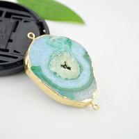 Wholesale 3pcs Natural Green Slice Druzy Gem Stone Connector Agate Drusy Connectors Charms Pendants fit bracelet necklace findings