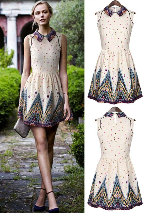 2015 Spring Summer Women Doll Collar Vest Print Dresses Lady ...