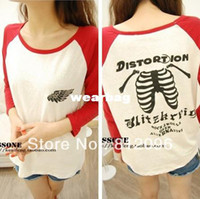 Women Polo Tops Wholesale-2014 new fashion plus size women clothing t shirt punk sexy tops tee clothes T-shirt Mixed colors fork rotator cuff wings