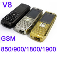 Wholesale Black Silver Gold V8 Big Button SOS Function Quad Band Gift for Old Senior Elderly Man Bluetooth Unlocked Cheap Mobile Cell Phone