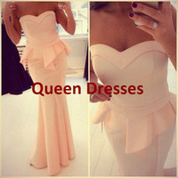 Model Pictures Sweetheart Satin 2014 Mermaid Elegant Party Evening Dresses Sexy Backless Sleeveless Peplum Floor Length Peach Open Back Gowns