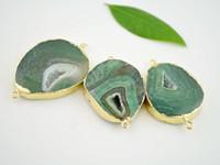 Wholesale 3pcs Natural Green Agate Slice Druzy Gem Stone Connector Agate Drusy Connectors Charms Pendants fit bracelet necklace