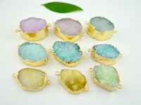 Wholesale 30pcs Natural Druzy Connectors Mixed Colors Crystal Quartz Gem stone Connectors Findings mm length Freedom shape