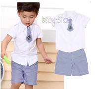 Boy Spring / Autumn Short Summer New 2014 Boys clothing set children's solid t shirt + shorts sets baby clothing set kids casual sets retail