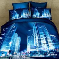al por mayor edredón de la reina establecer moderna-Juegos de ropa de cama 3D Modern City Reactive Printing Comforter Set Fundas de edredón Fundas de almohada Flat Bed Sheet Cama de tela 100% algodón en una bolsa