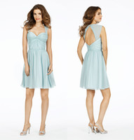 Free Shipping Scoop Neck Short Pleat Mint Bridesmaid Dresses...