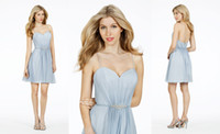 Gorgeous Spaghetti Straps A- Line Pleat Short Bridesmaid Dres...