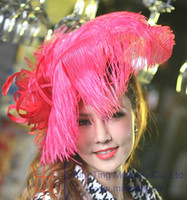 Barrettes & Clips Women's Party Hipster Ladies 100% sinamay Fascinator Red Feather Hats Women Dress Girl Hair Accessories Wedding Bridal Headpiece Headband