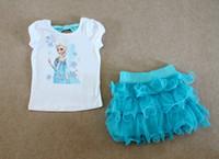 Cheap Girl Frozen dress sets Best Summer Short ackless short sleeve Tee