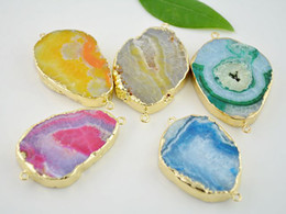 Wholesale 10pcs Natural Freedom shape Druzy Gem Stone beads Gold Edged Agate Slice Druzy Geode Connector for Charm Bracelet Findings