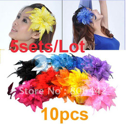 Wholesale Holiday Sale sets Feather Flower Baby Hair Bows Headband Children Head Accessories