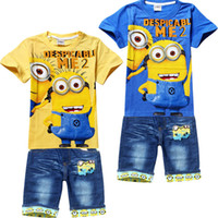 Wholesale 6 Set Children s Cartoon T Shirt Jeans Sets Girl s Short Sleeve T Shirt Jeans Kids Baby Boy Outfits Clothes S0616