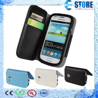 For Samsung Leather White Case Cover For Samsung S3 mini i8190 with Card Slot,fast shipping, wu