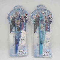 Wholesale Frozen Princess Cartoon Children Stationery Elsa Anna Ball Point Pens Kids Snow Queen With Fans Flash Multifunction Pen Supplies