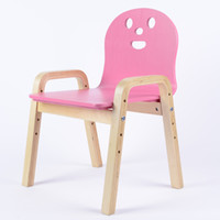 Wholesale Solid wood child stool chair backrest birch armrest chair adjustable chair for Children